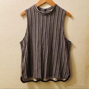 Madewell 'Jessa' striped mock neck tank top Sz L